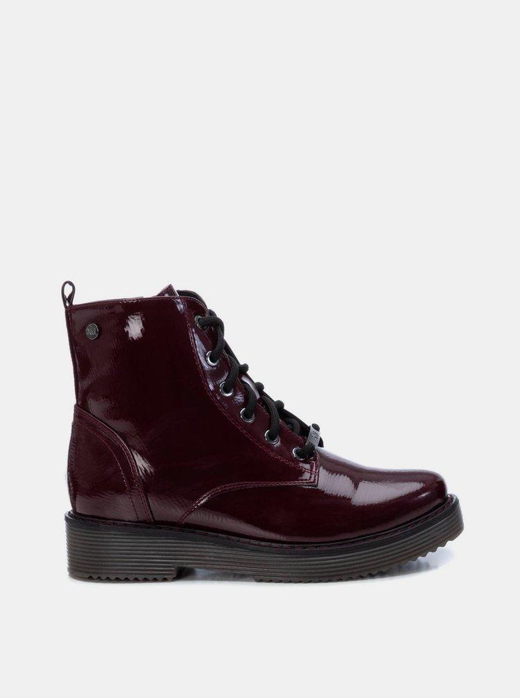 Vínové dámské kotníkové boty Xti