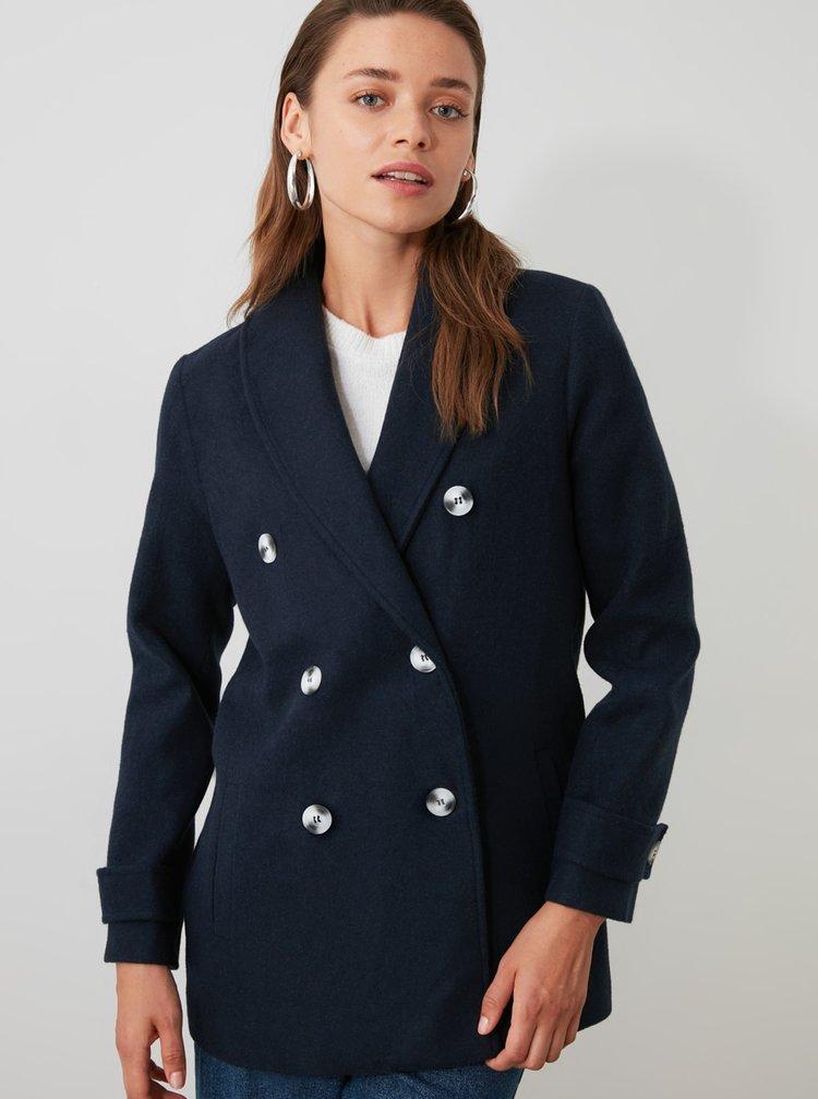Tmavomodrý krátky kabát Trendyol