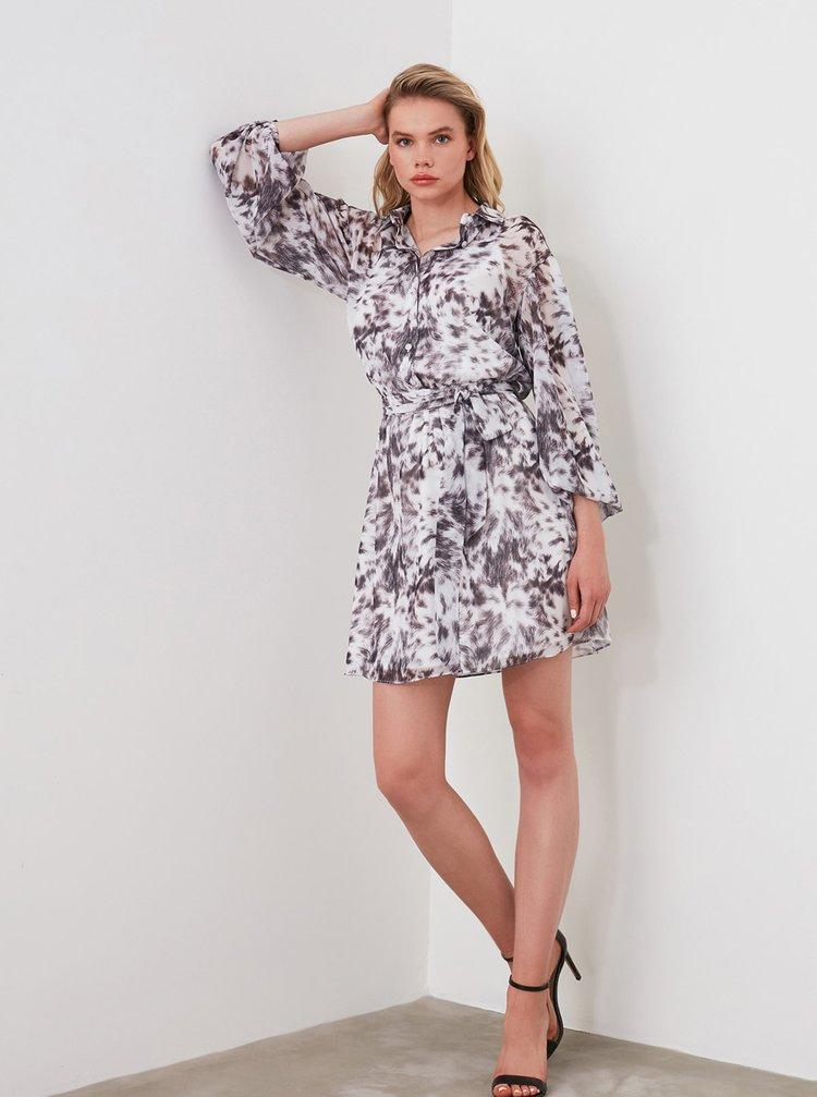 Šedo-biele vzorované košeľové šaty Trendyol