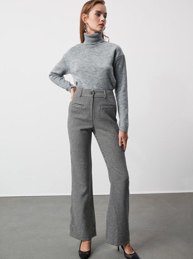 Šedé dámské kostkované bootcut kalhoty Trendyol