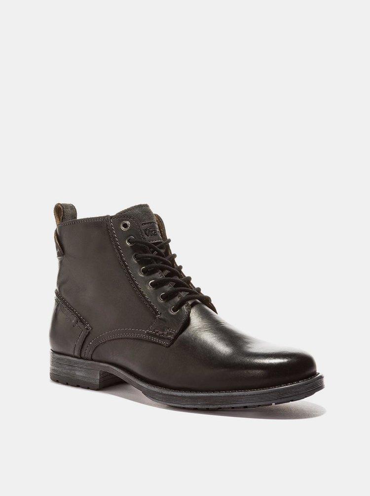 Černé pánské kožené kotníkové boty Wrangler