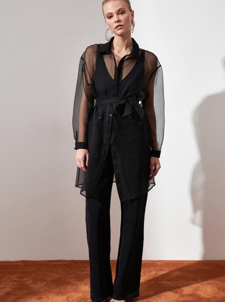 Čierna dámska dlhá priesvitná košeľa Trendyol