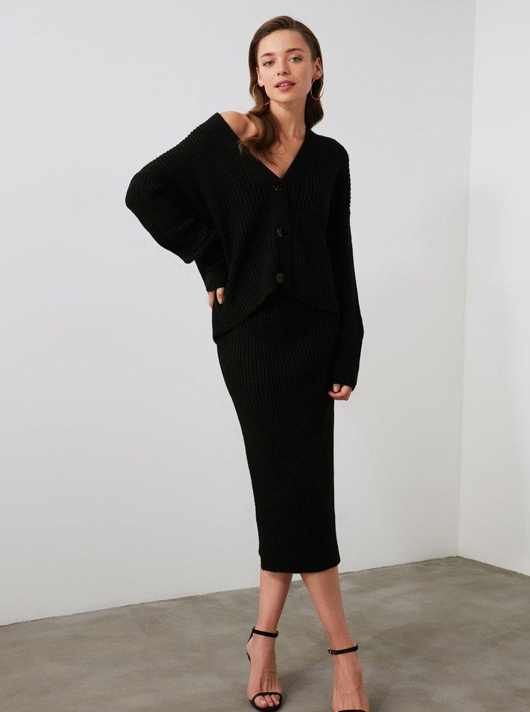 Čierny dámsky komplet kardiganu a púzdrovej sukne Trendyol