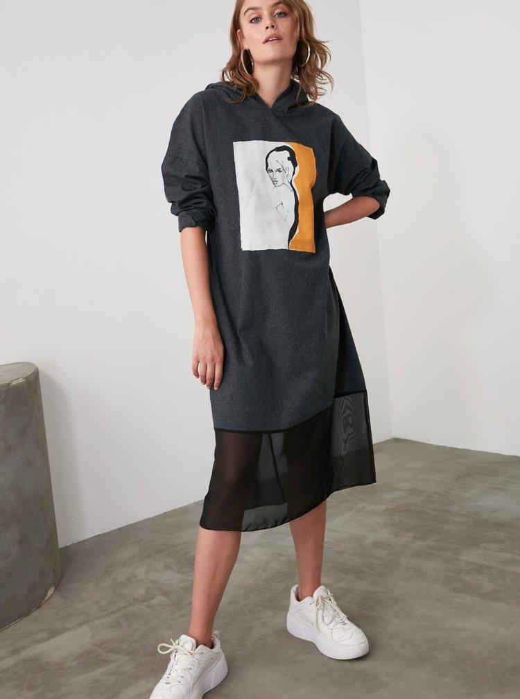 Tmavě šedé šaty s kapucí Trendyol