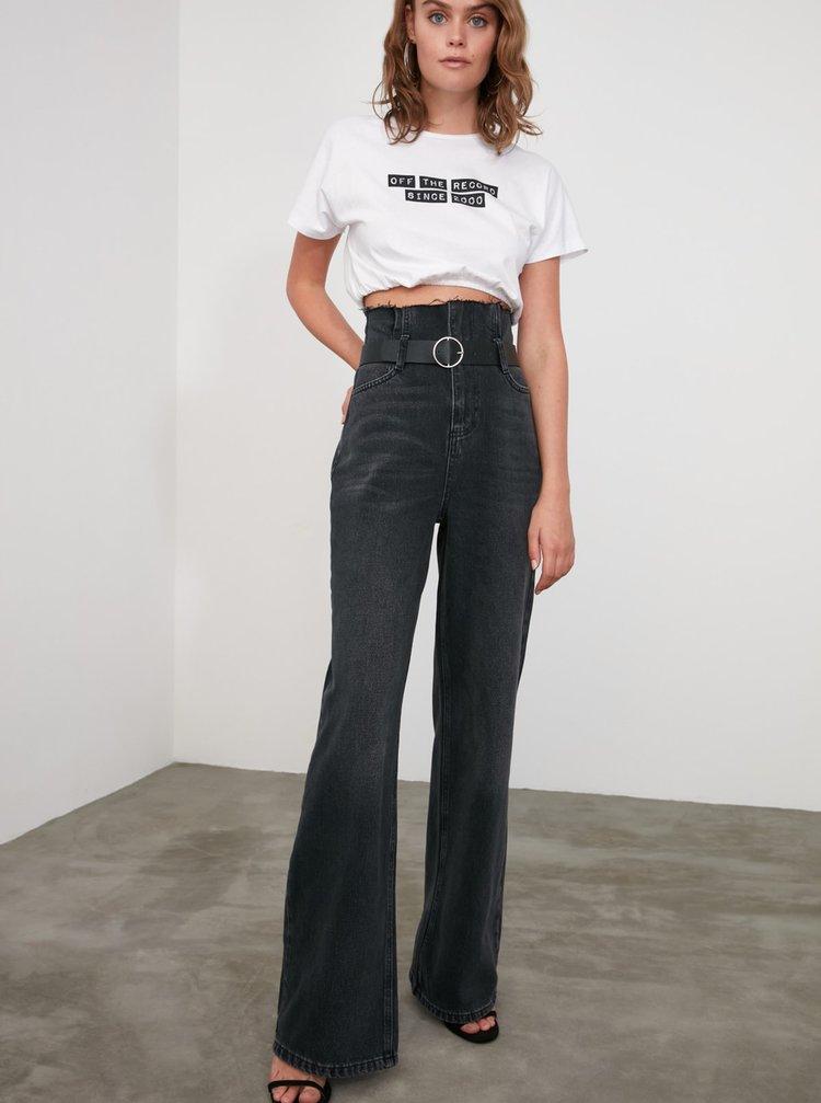 Černé dámské široké džíny Trendyol