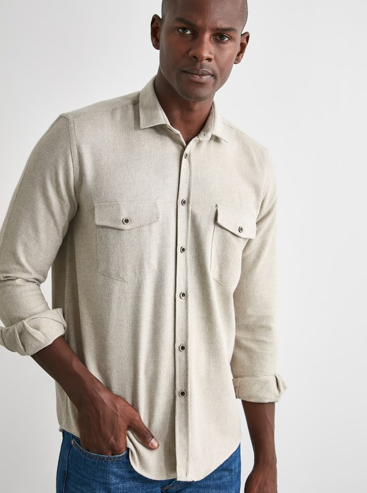 Krémová pánská košile Trendyol