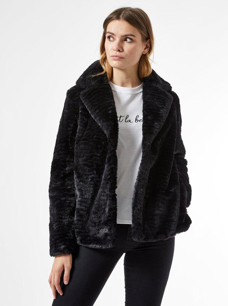 Čierny krátky kabát z umelého kožúšku Dorothy Perkins