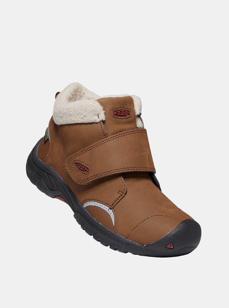 Hnedé detské kožené zimné topánky Keen