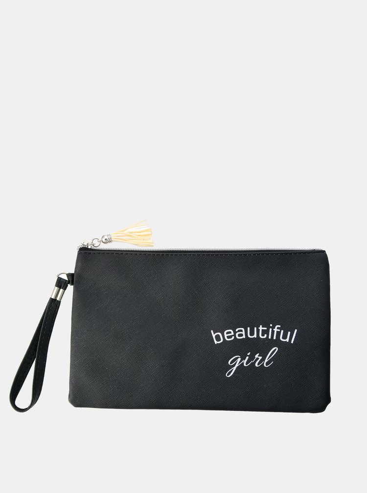 Černá dámská kosmetická taška s nápisem Clayre & Eef