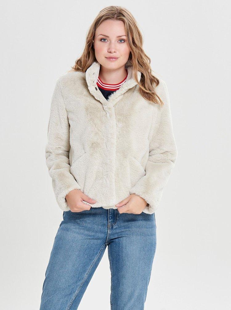 Krémová bunda z umělého kožíšku ONLY