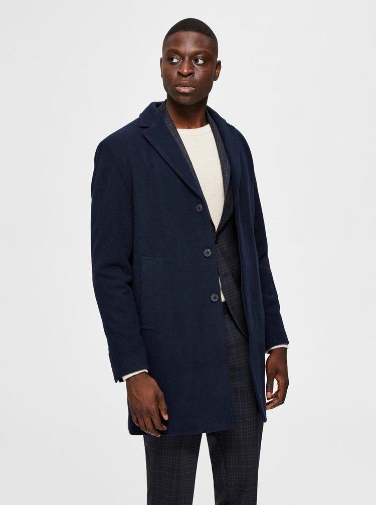 Tmavomodrý vlnený kabát Selected Homme Hagen