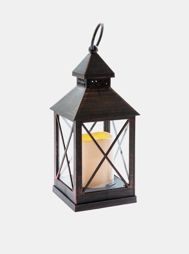 Tmavě hnědá svítící lucerna Dakls