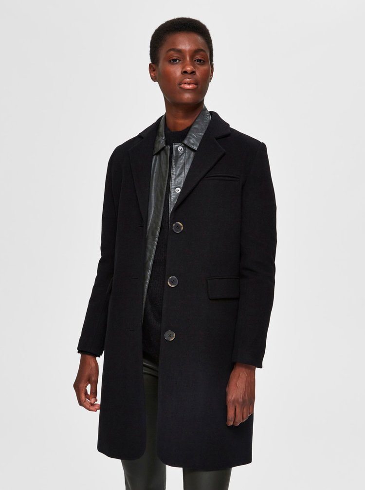Černý vlněný kabát Selected Femme Elina