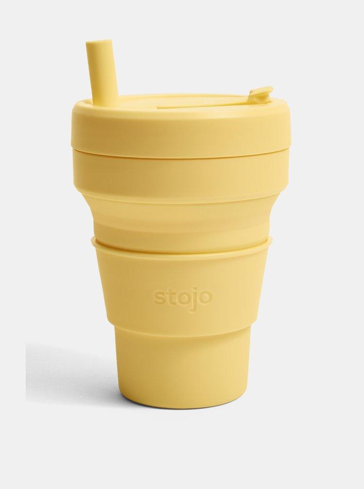 Žlutý cestovní skládací hrnek s brčkem Stojo Biggie 470 ml