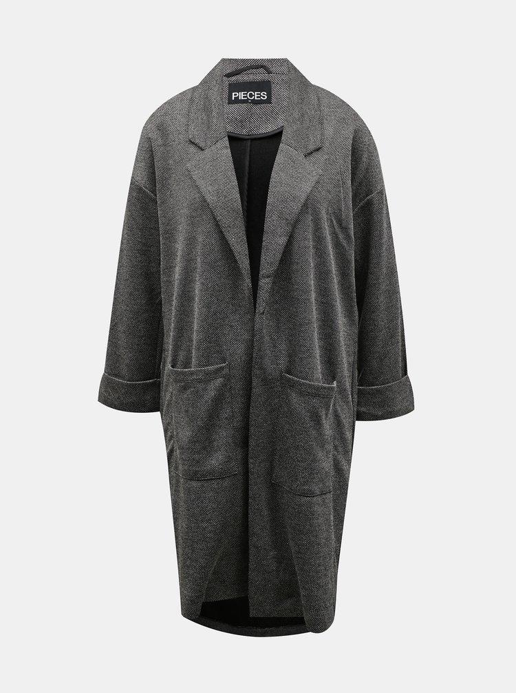 Šedý ľahký dlhý kabát Pieces Dorita