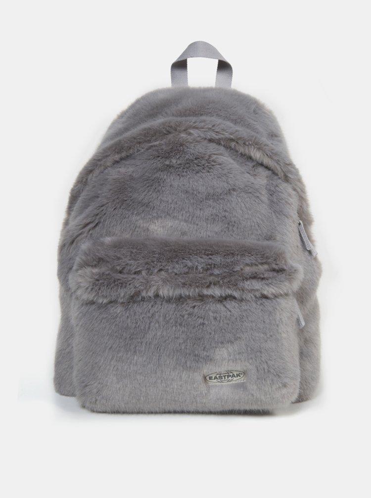 Šedý batoh z umelého kožúšku Eastpak 24 l