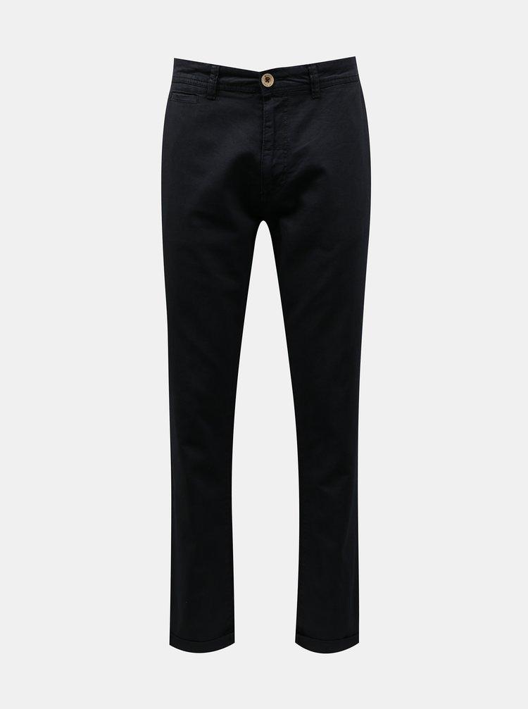 Tmavě modré lněné chino kalhoty Blend