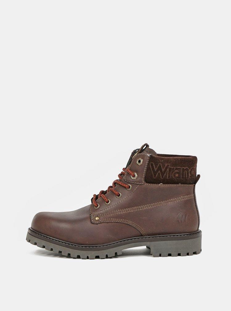 Hnědé pánské kožené zimní boty Wrangler