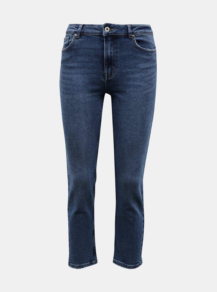 Modré zkrácené straight fit džíny ONLY Erica
