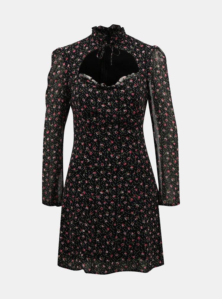 Čierne kvetované šaty so stojáčikom TALLY WEiJL