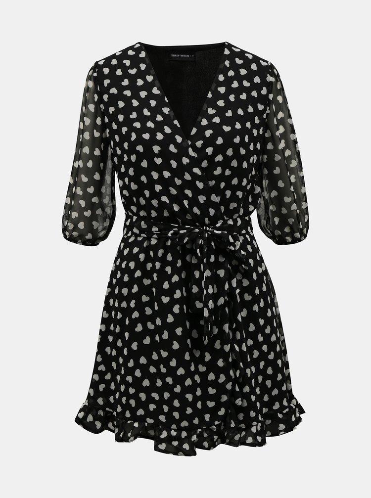 Čierne vzorované zavinovacie šaty TALLY WEiJL