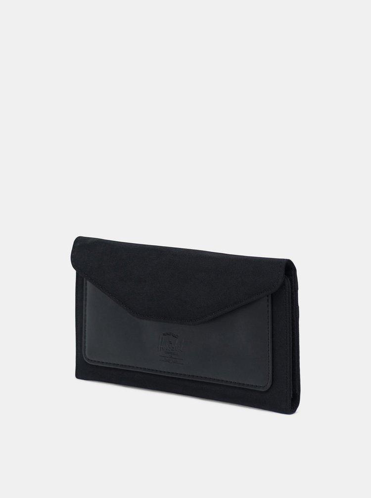 Černá kožená peněženka Herschel Supply