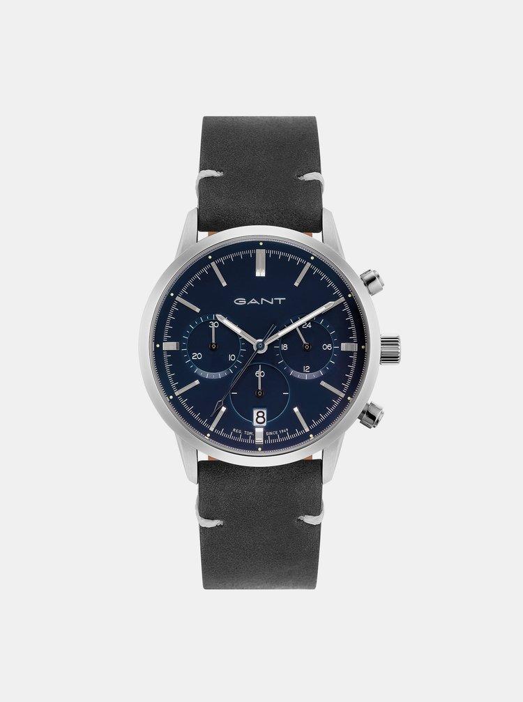 Dámské hodinky s černým koženým páskem GANT