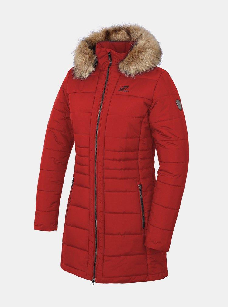 Červený dámský prošívaný zimní kabát Hannah