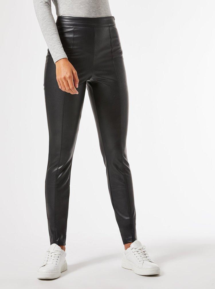 Černé koženkové kalhoty Dorothy Perkins Tall