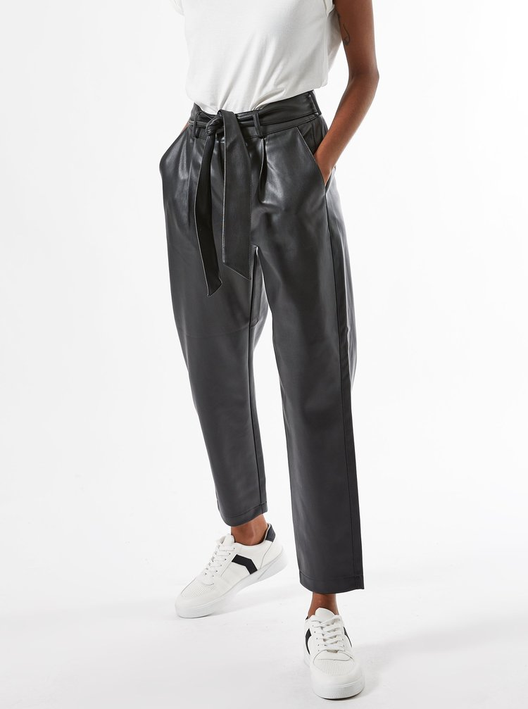 Černé zkrácené koženkové kalhoty se zavazováním Dorothy Perkins Petite