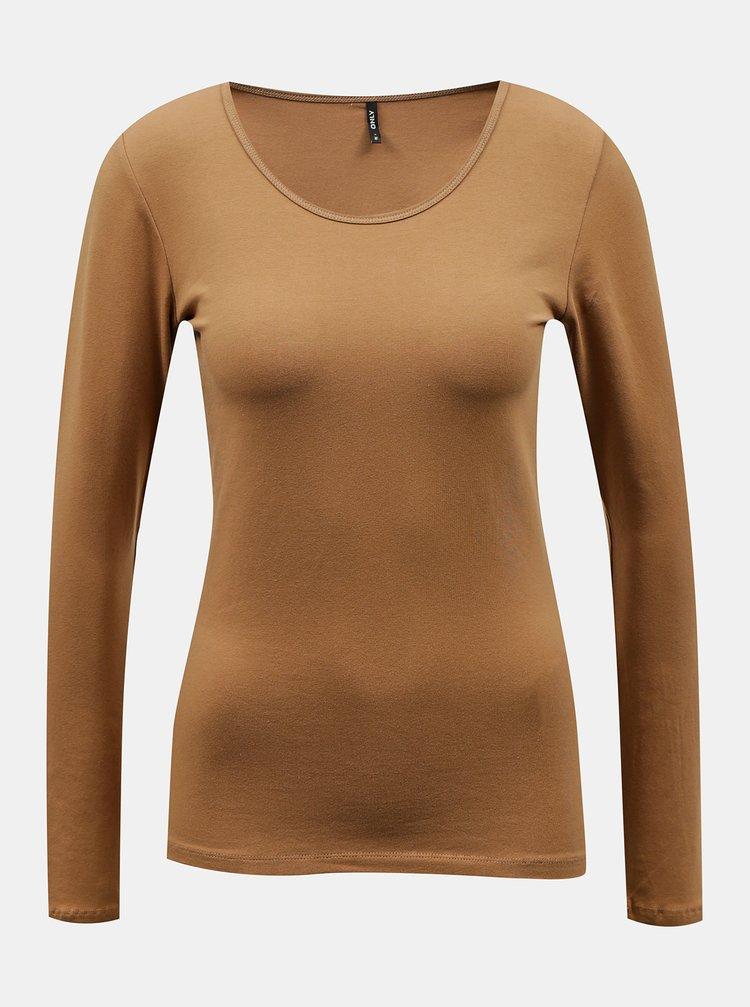 Hnědé basic tričko ONLY