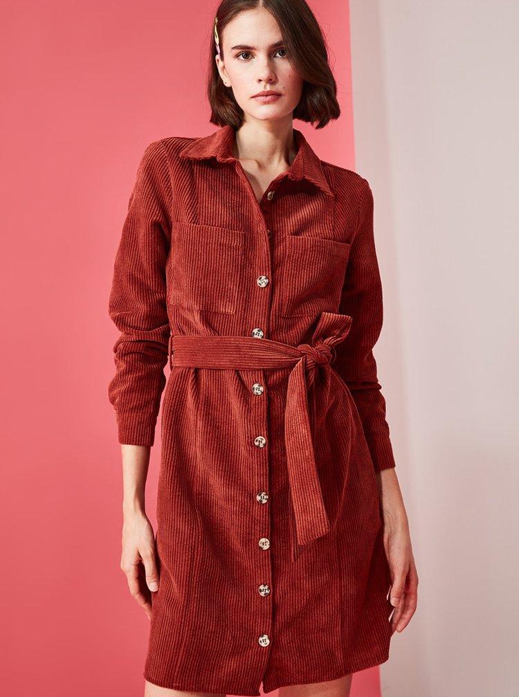 Tehlové menčestrové košeľové šaty Trendyol