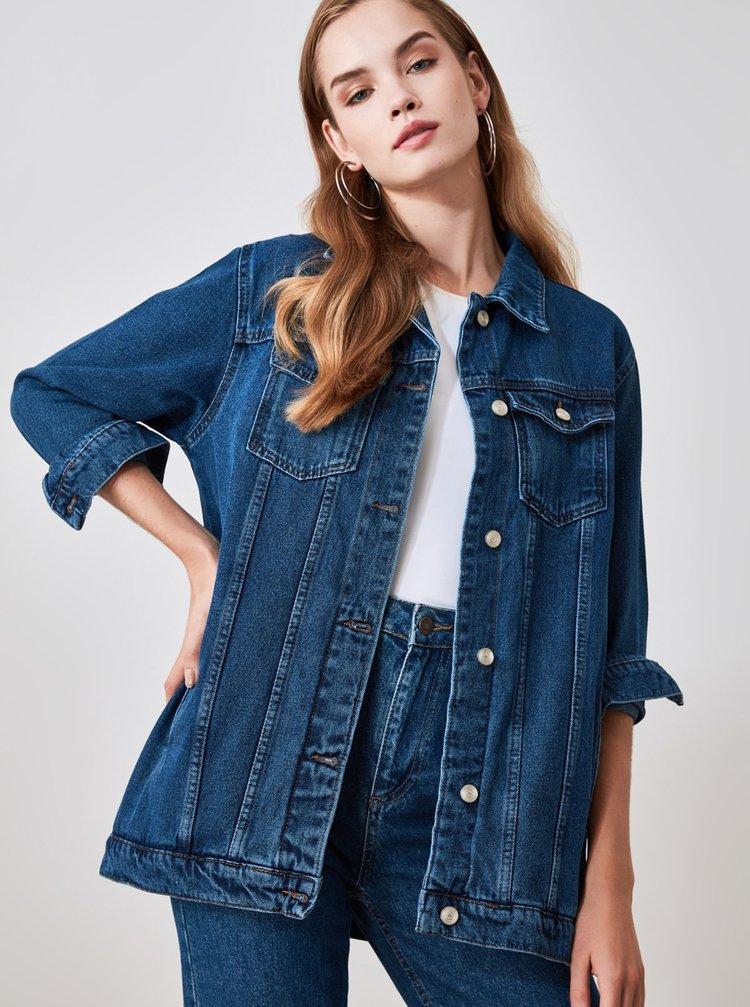 Tmavě modrá dámská džínová bunda Trendyol