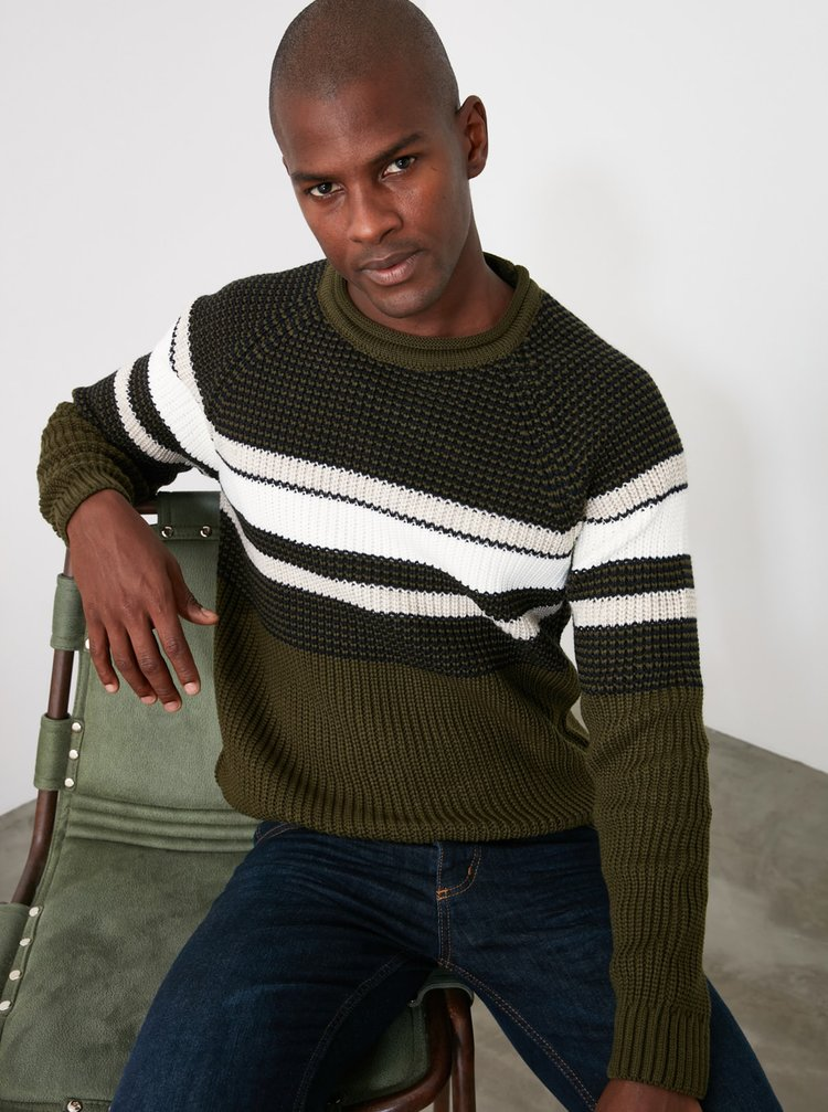 Kaki pánsky sveter Trendyol