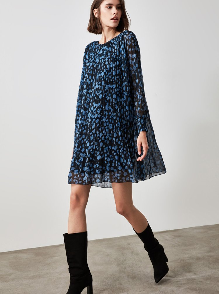 Modré kvetované plisované šaty Trendyol