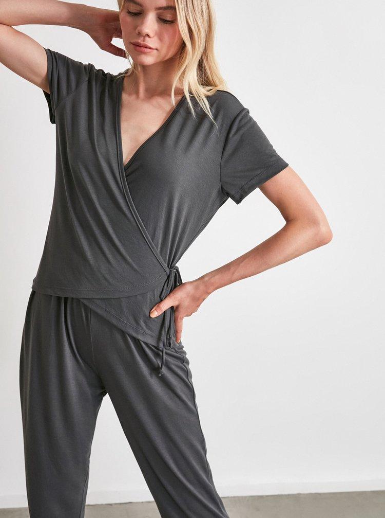 Tmavě šedé pyžamo Trendyol