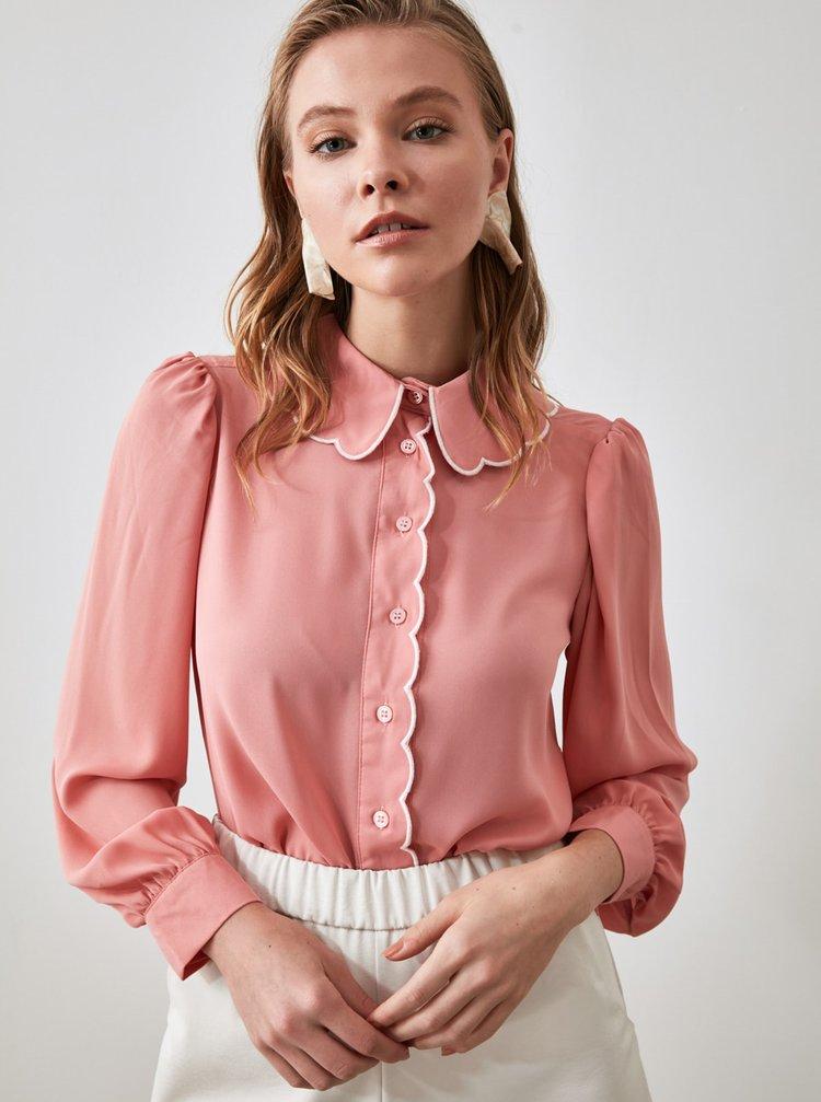 Růžová dámská košile Trendyol