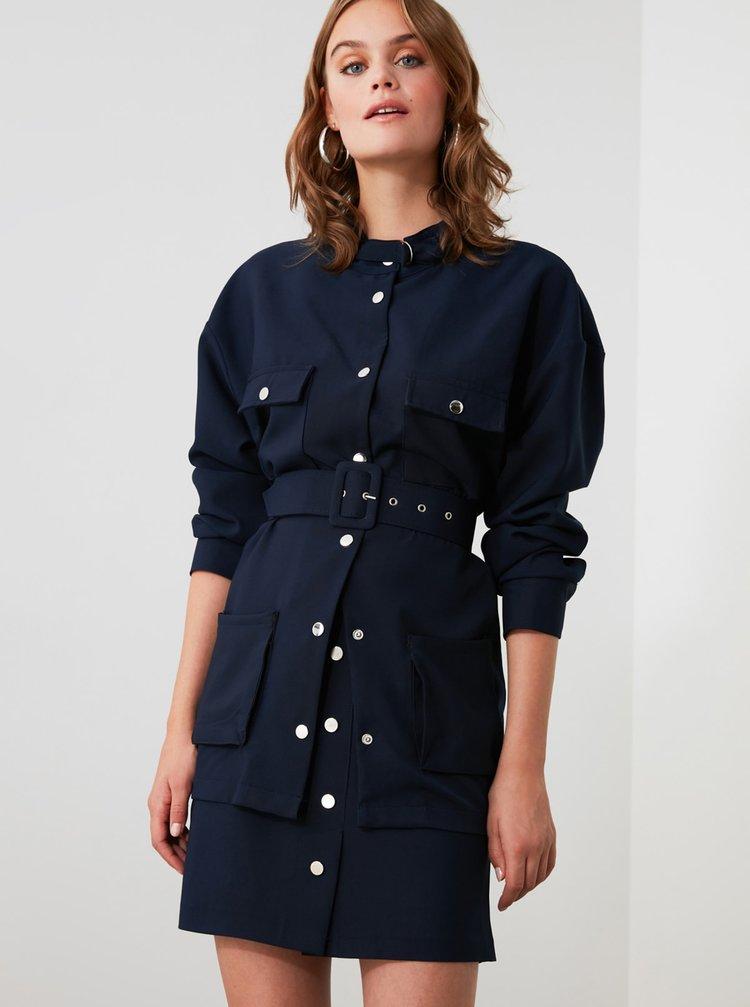 Tmavě modrá sukně s knoflíky Trendyol