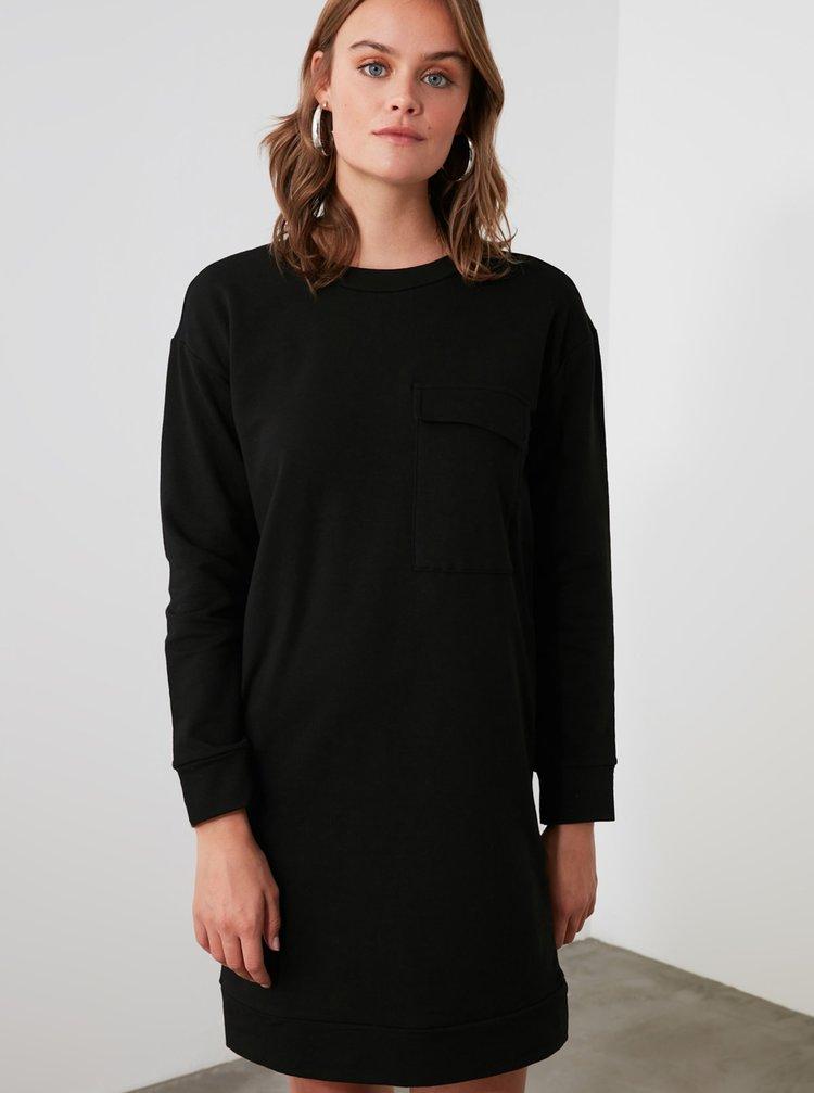Černé mikinové šaty Trendyol