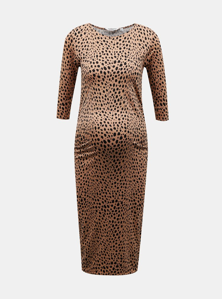 Hnědé vzorované pouzdrové těhotenské šaty Dorothy Perkins Maternity