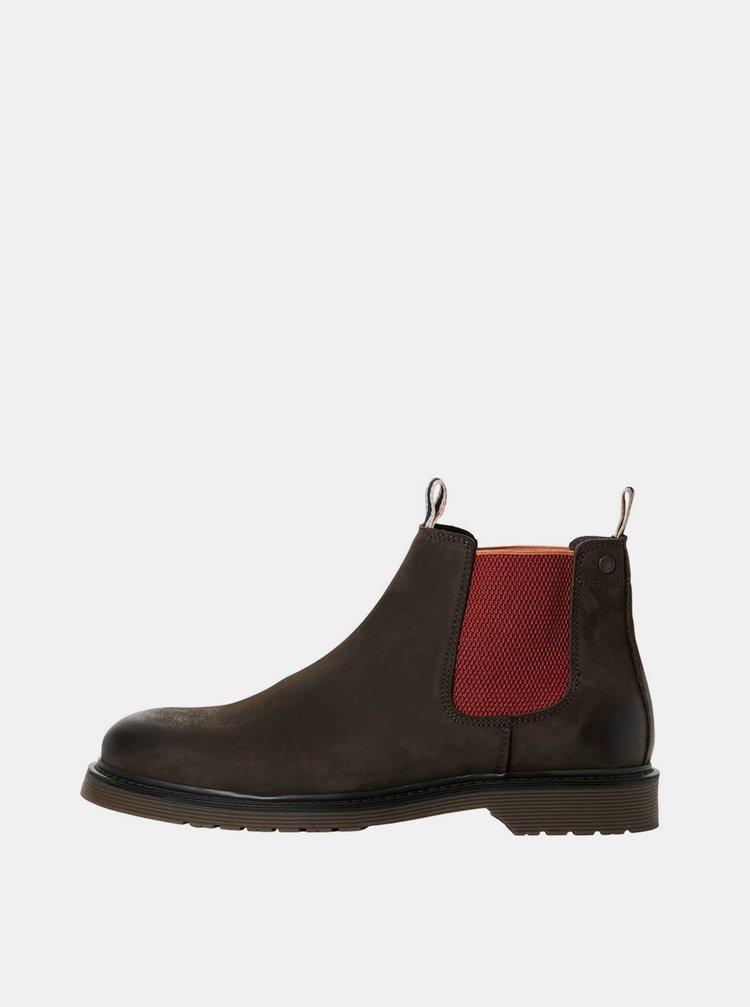 Hnedé kožené pánske chelsea topánky Jack & Jones
