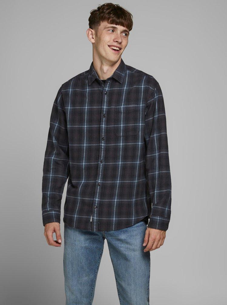 Tmavě modrá kostkovaná košile Jack & Jones