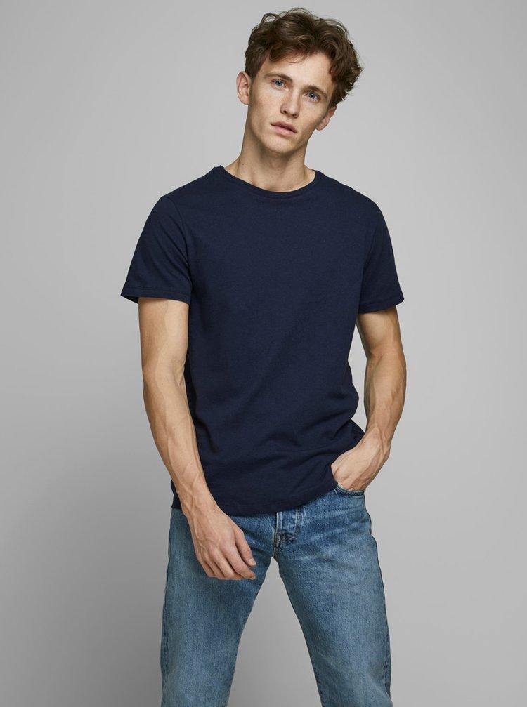 Tmavě modré tričko s příměsí lnu Jack & Jones
