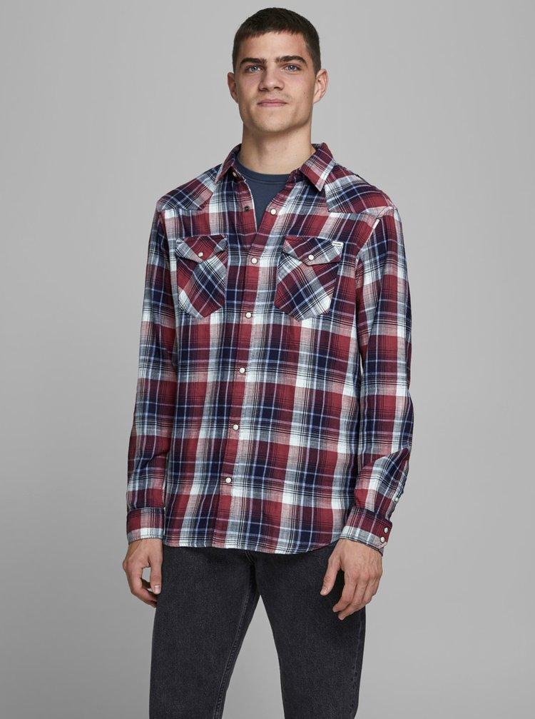 Červeno-modrá kostkovaná košile Jack & Jones
