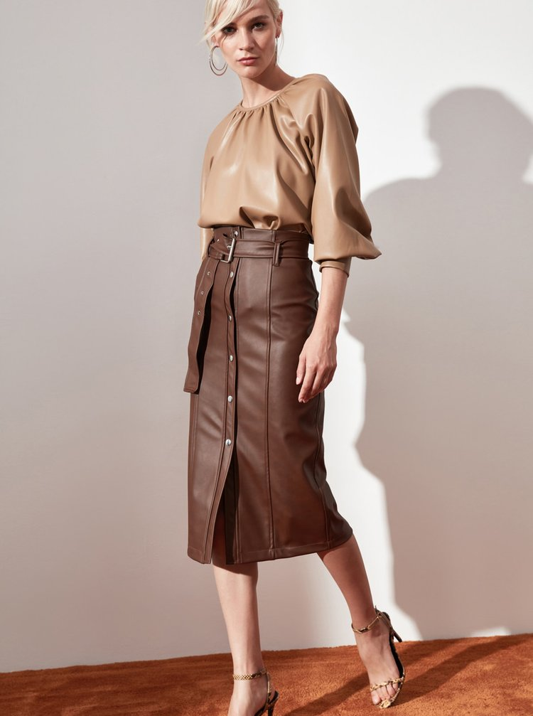 Hnedá sukňa Trendyol