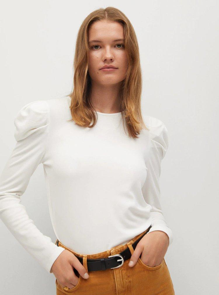 Tričká s dlhým rukávom pre ženy Mango - biela