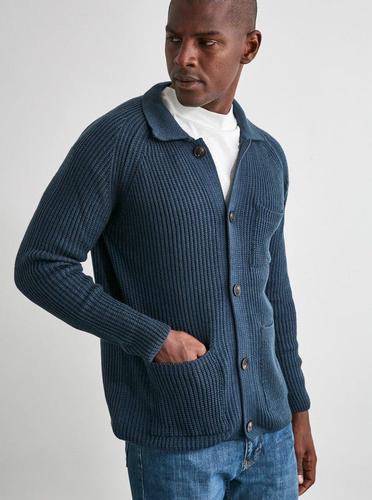 Tmavě modrý pánský kardigan Trendyol