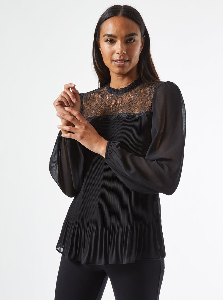 Černá plisovaná halenka s krajkou Dorothy Perkins