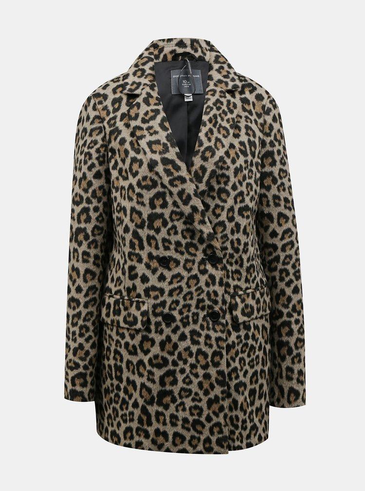 Hnědý zimní kabát s leopardím vzorem Dorothy Perkins Tall