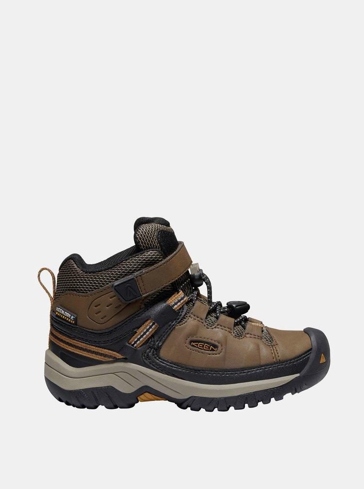 Hnedé chlapčenské kožené zimné topánky Keen